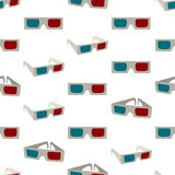 Seamless colorful background made of anaglyph glasses Royalty Free Stock Photos