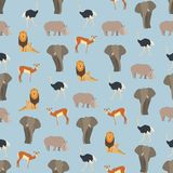 Seamless colorful background made of animals of Africa in flat. Design, vector stock illustration