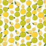 Seamless colorful background made of apples and pears in flat de Stock Image