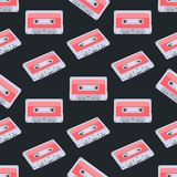 Seamless colorful background made of audio tapes in flat design Stock Photography