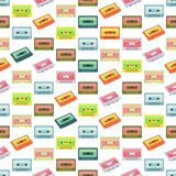 Seamless colorful background made of audio tapes in flat design Stock Image