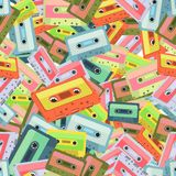 Seamless colorful background made of audio tapes in flat design Royalty Free Stock Photos