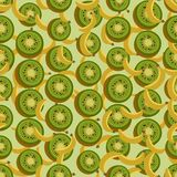 Seamless colorful background made of  bananas and kiwi in flat d Stock Photo