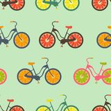Seamless colorful background made of bikes with fruit wheels Royalty Free Stock Image