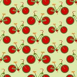 Seamless colorful background made of bikes with strawberry wheel Stock Photography