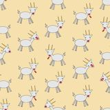 Seamless colorful background made of cartoon goats Stock Photography