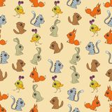 Seamless colorful background made of  cartoons of cute baby anim Stock Image