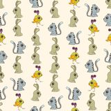 Seamless colorful background made of  cartoons of cute baby anim Royalty Free Stock Photos