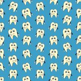 Seamless colorful background made of cartoons of sad teeth Stock Photos
