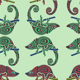 Seamless colorful background made of chameleons Royalty Free Stock Photos