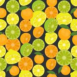 Seamless colorful background made of citrus fruits in flat desig Stock Photo