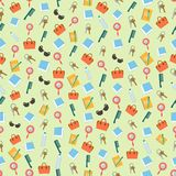 Seamless colorful background made of content of woman purse in f Stock Photography