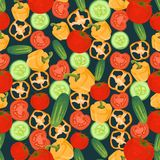 Seamless colorful background made of cucumber, pepper and tomato Stock Images