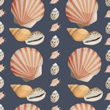 Seamless colorful background made of different shells in flat de Royalty Free Stock Images