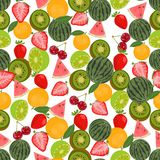 Seamless colorful background made of fruits and berries in flat Royalty Free Stock Image