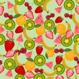 Seamless colorful background made of  fruits and berries in flat Stock Images