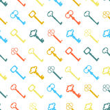 Seamless colorful background made of  keys in flat design. Vector Royalty Free Stock Images