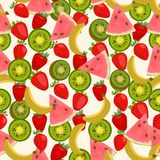 Seamless colorful background made of kiwi, watermelon, banana an Stock Photography