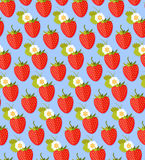 Seamless Colorful Background Made Of Strawberry In Flat Design. Stock Photos