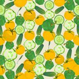 Seamless colorful background made of pepper, cucumber and yellow Stock Photography