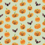Seamless colorful background made of pumpkin and bat Royalty Free Stock Photos
