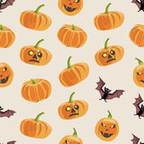 Seamless colorful background made of pumpkin and bat Stock Photos