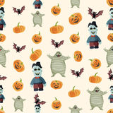 Seamless colorful background made of pumpkin, bat, mummy and zom Royalty Free Stock Photos