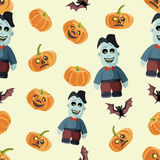 Seamless colorful background made of pumpkin, bat and zombie Stock Images