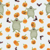Seamless colorful background made of pumpkin, mummy and bat Royalty Free Stock Image
