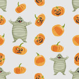 Seamless colorful background made of pumpkin and mummy Royalty Free Stock Image