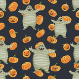 Seamless colorful background made of pumpkin and mummy Stock Image