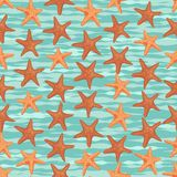 Seamless colorful background made of sea stars in flat design Royalty Free Stock Photos
