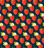 Seamless colorful background made of strawberry in flat design. Funny fruit. Cute Seamless Pattern in flat style. flat food and flat fruit stock illustration