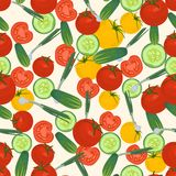 Seamless colorful background made of tomato, green onion and cuc Royalty Free Stock Image