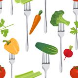 Seamless Colorful Background made of vegetables on the forks Royalty Free Stock Images