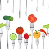 Seamless Colorful Background made of vegetables on the forks Stock Photos