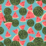 Seamless colorful background made of  watermelon in flat design Royalty Free Stock Photography