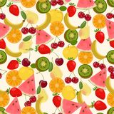 Seamless colorful background made of watermelon, kiwi, pear, ora. Nge, cherry, banana and strawberry in flat design, vector Stock Image