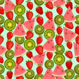 Seamless colorful background made of watermelon, kiwi Royalty Free Stock Photos