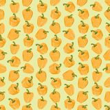 Seamless colorful background made of yellow pepper in flat desig Stock Photos