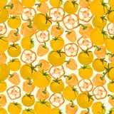Seamless colorful background made of yellow pepper and tomato in Stock Photo