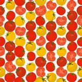 Seamless colorful background made of yellow and red tomato in fl Stock Images