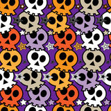 Seamless colorful background with skulls. Stock Photo