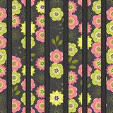 Seamless colorful background with straight lines filled with orn. Ate floral pattern, illustration Royalty Free Stock Photo