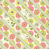 Seamless colorful background with straight lines filled with orn. Ate floral pattern, illustration Stock Photography