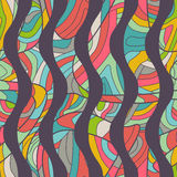 Seamless colorful background with wavy lines filled with ornate Stock Photography