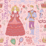 Seamless Colorful Background With Prince And Princess On Pink Stock Photography