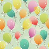 Seamless colorful balloons floating. Seamless pattern - colorful festive balloons in the sky Stock Photo