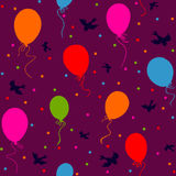 Seamless colorful balloons floating. Seamless pattern - multicolor balloons flying in the sky with birds and confetti on dark purple background Stock Image