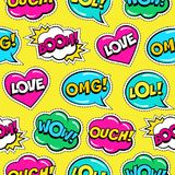 Seamless colorful bright pattern with comic speech bubbles patches on yellow background. Stock Photos